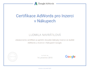 Google nákupy certifikát